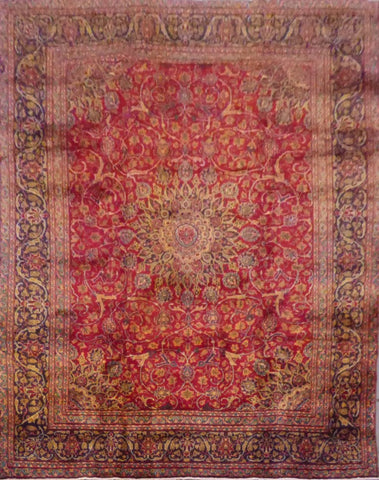 "PERSIAN MASHAD HAND-KNOTTED RUG MADE WITH NATURAL WOOL & COTTON 12'3'' X 9'2"" ABC163"
