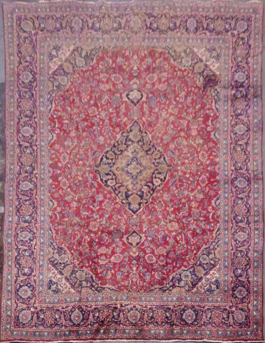 "PERSIAN MASHAD HAND-KNOTTED RUG MADE WITH NATURAL WOOL & COTTON 12'5'' X 9'5"" ABC208"