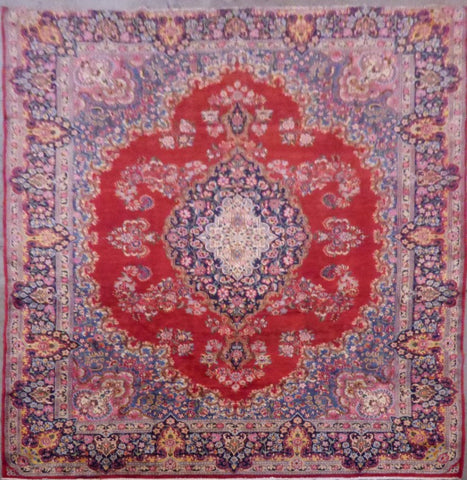 "PERSIAN KERMAN HAND-KNOTTED RUG MADE WITH NATURAL WOOL & COTTON 11'9'' X 8'6"" ABC118"