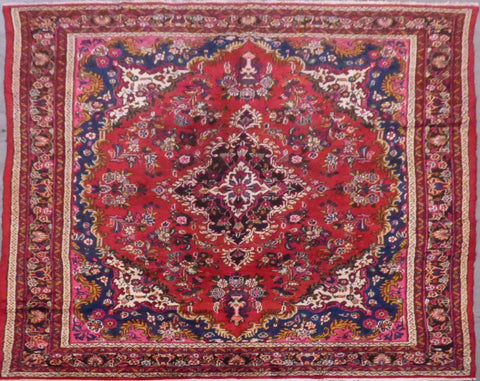 "PERSIAN HAMEDAN HAND-KNOTTED RUG MADE WITH NATURAL WOOL & COTTON 10'3'' X 6'7"" ABC386"
