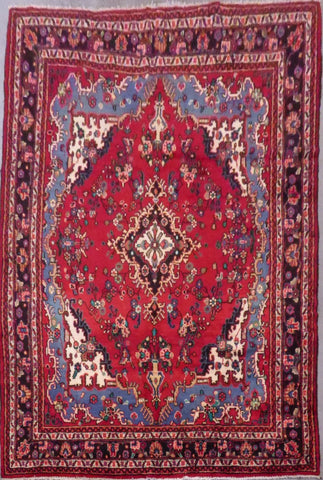 "PERSIAN HAMEDAN HAND-KNOTTED RUG MADE WITH NATURAL WOOL & COTTON 10'4'' X 7'5"" ABC416"