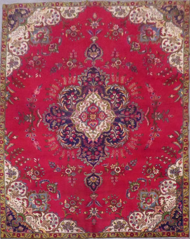 "PERSIAN TABRIZ HAND-KNOTTED RUG MADE WITH NATURAL WOOL & COTTON 11'11'' X 7'7"" ABC421"