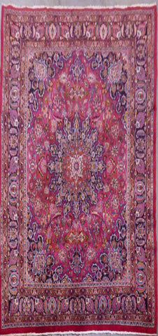 "PERSIAN MASHAD HAND-KNOTTED RUG MADE WITH NATURAL WOOL & COTTON 9'6'' X 7'10"" ABC457"