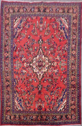 "PERSIAN HAMEDAN HAND-KNOTTED RUG MADE WITH NATURAL WOOL & COTTON 10'3'' X 6'11"" ABC420"