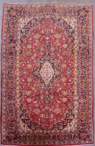 "PERSIAN MASHAD HAND-KNOTTED RUG MADE WITH NATURAL WOOL & COTTON 10'2'' X 7'0"" ABC374"