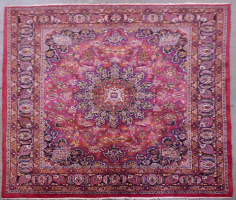 "PERSIAN MASHAD HAND-KNOTTED RUG MADE WITH NATURAL WOOL & COTTON 9'5'' X 7'11"" ABC433"