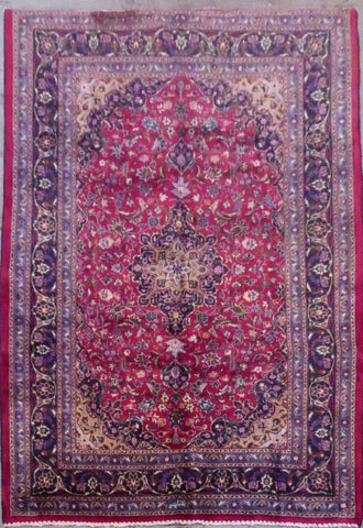 "PERSIAN MASHAD HAND-KNOTTED RUG MADE WITH NATURAL WOOL & COTTON 9'7'' X 6'7"" ABC398"