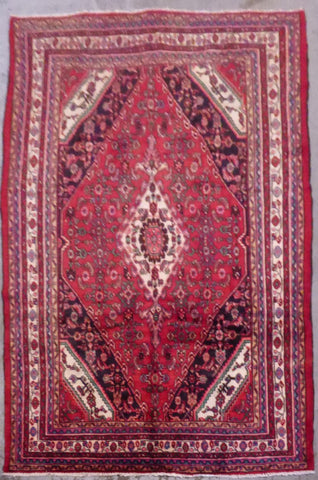 "PERSIAN HAMEDAN HAND-KNOTTED RUG MADE WITH NATURAL WOOL & COTTON 10'5'' X 6'9"" ABC459"