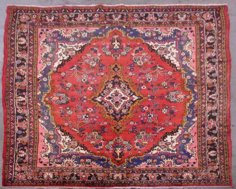 "PERSIAN HAMEDAN HAND-KNOTTED RUG MADE WITH NATURAL WOOL & COTTON 10'9'' X 7'2"" ABC415"
