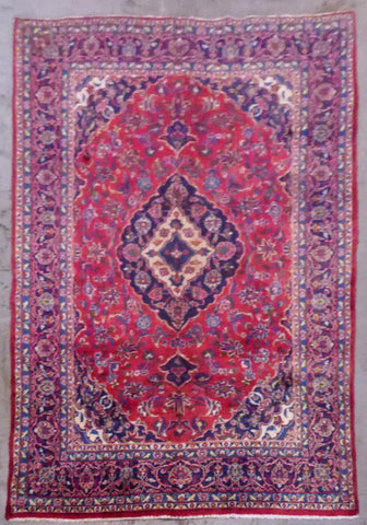 "PERSIAN MASHAD HAND-KNOTTED RUG MADE WITH NATURAL WOOL & COTTON 9'5'' X 6'2"" ABC431"