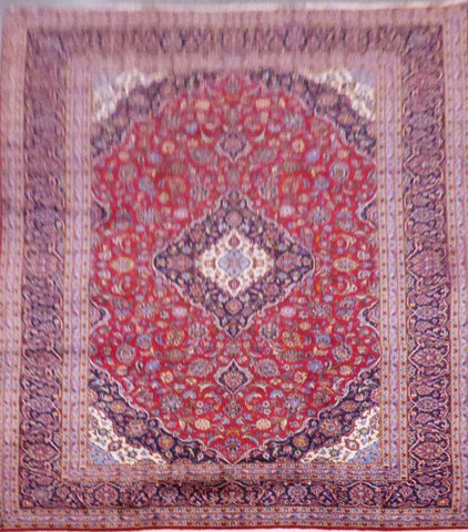 "PERSIAN KASHAN HAND-KNOTTED RUG MADE WITH NATURAL WOOL & COTTON 13'2'' X 9'8"" ABC555"