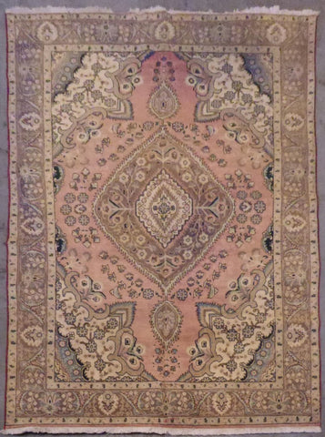 "PERSIAN TABRIZ HAND-KNOTTED RUG MADE WITH NATURAL WOOL & COTTON 9'6'' X 6'7"" ABCR02105"