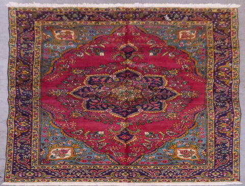 "PERSIAN TABRIZ HAND-KNOTTED RUG MADE WITH NATURAL WOOL & COTTON 9'7'' X 6'4"" ABCR02198"