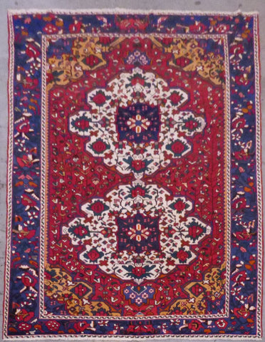 "PERSIAN BAKHTIAR HAND-KNOTTED RUG MADE WITH NATURAL WOOL & COTTON 9'11'' X 6'11"" ABCR02523"