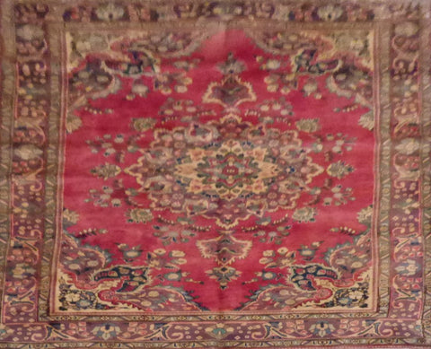 "PERSIAN TABRIZ HAND-KNOTTED RUG MADE WITH NATURAL WOOL & COTTON 9'4'' X 6'2"" ABCR00199"