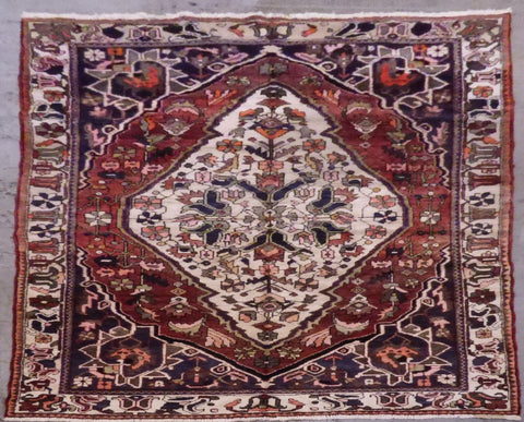 "PERSIAN BAKHTIAR HAND-KNOTTED RUG MADE WITH NATURAL WOOL & COTTON 10'2'' X 6'7"" ABCR02776"
