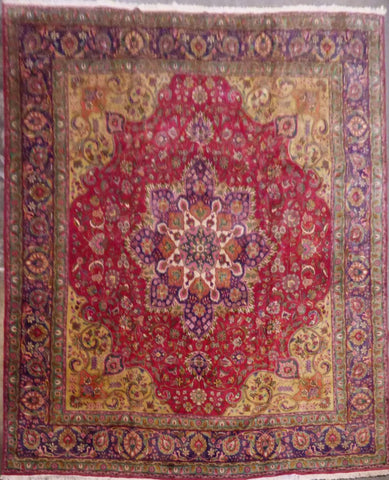 "PERSIAN TABRIZ HAND-KNOTTED RUG MADE WITH NATURAL WOOL & COTTON 12'11'' X 11'3"" ABCR02136"