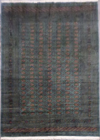 "PAKISTANI BOKHARA HAND-KNOTTED RUG MADE WITH NATURAL WOOL & COTTON 12'0"" X 9'3"" ABC0020057"