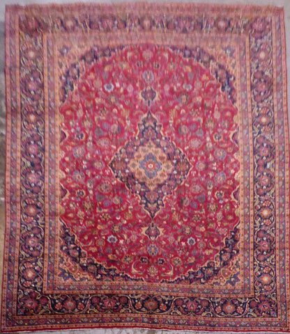 "PERSIAN MASHAD HAND-KNOTTED RUG MADE WITH NATURAL WOOL & COTTON 12'8'' X 9'10"" ABC96"