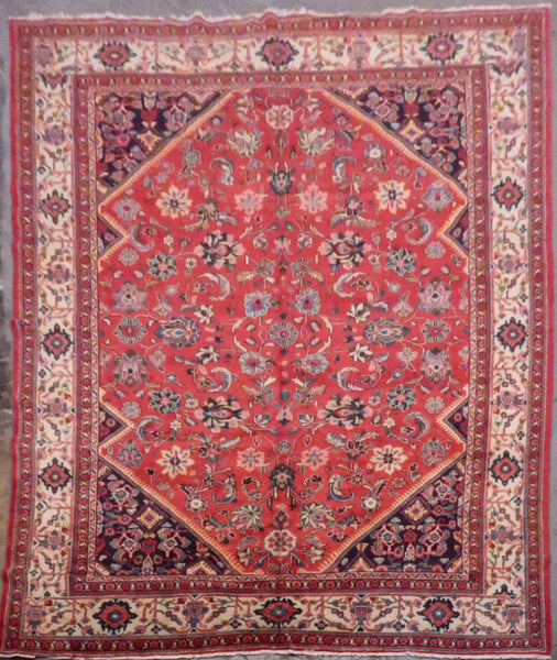 "PERSIAN TABRIZ HAND-KNOTTED RUG MADE WITH NATURAL WOOL & COTTON 12'9'' X 9'4"" ABCR02608"