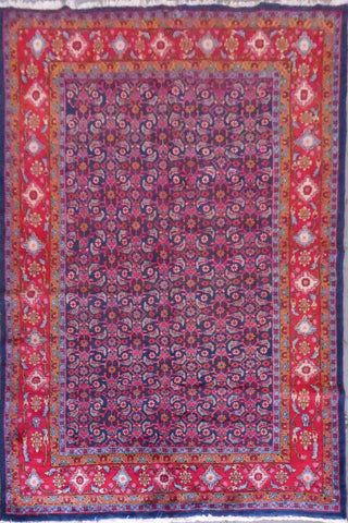 "Bakhtiar semi antique hand knotted Persian Tabriz rugs , traditional floral, natural vegetable dyes, wool & cotton, blue, 10'7"" X 7', ABCR02466 (Red : 10582)"