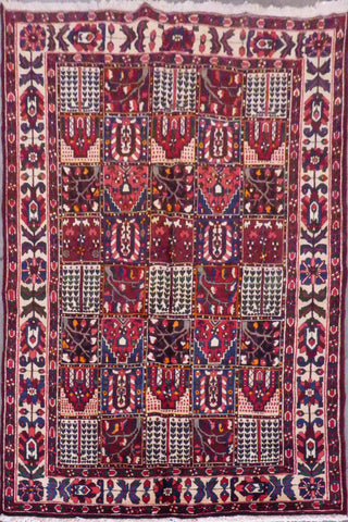 "Bakhtiar semi antique hand knotted Persian Tabriz rugs , traditional floral,  natural vegetable dyes, wool & cotton, red, 10'2"" X 6'9"", ABCR02598 (Red : 10540)"
