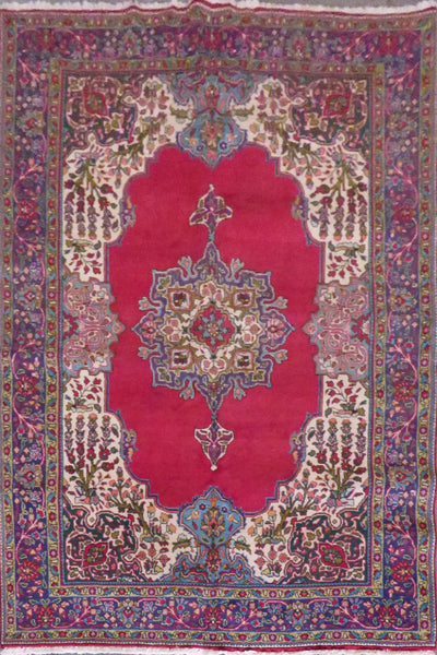 "Tarbiz semi antique hand knotted Persian Tabriz rugs , traditional Medallion,  natural vegetable dyes, wool & cotton, red, 9'9""x6'10"", ABCR02196 (Red : 10556)"