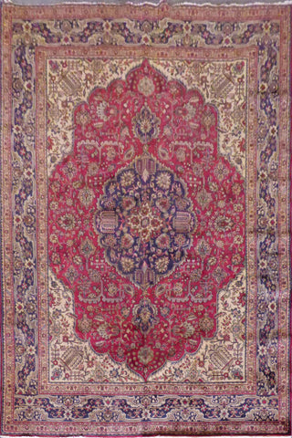 "Tabriz semi antique hand knotted Persian Tabriz rugs , traditional floral,  natural vegetable dyes, wool & cotton, blue, 10'11""x8'2"", ABC57 (Red : 10545)"