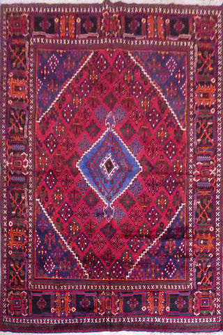 "Joshghan semi antique hand knotted Persian Tabriz rugs , traditional geometric,  natural vegetable dyes, wool & cotton, red, 10'2"" X 7', ABCR02492 (Red : 10594)"