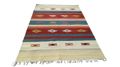 Sebys Wool Cotton Indian  Killim 5' X 8' ABCW07012