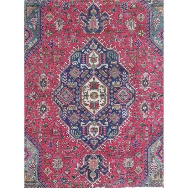 "Persian tabriz Authentic Hand-Knotted Traditonal Vintage Persian Rugs Natural Wool and Cotton Multicolor Area Rug  8'0""  X  1'11"" ABCR06575"
