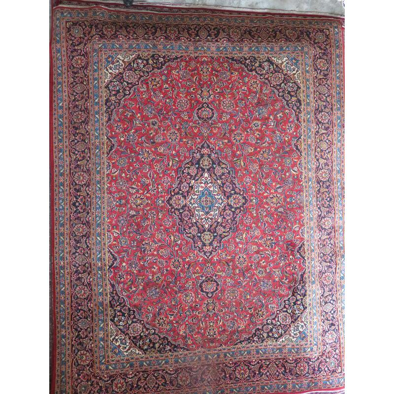 "Persian mashad Authentic Hand-Knotted Traditonal Vintage Persian Rugs Natural Wool and Cotton Multicolor Area Rug  12'7""  X  9'6""  ABCR06590"