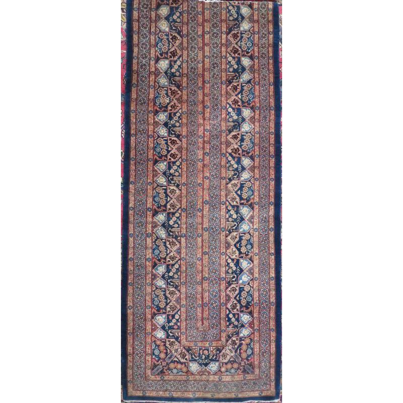 "Persian mashad Authentic Hand-Knotted Traditonal Vintage Persian Rugs Natural Wool and Cotton Multicolor Area Rug  9'10""  X  2'4""  ABCR06596"