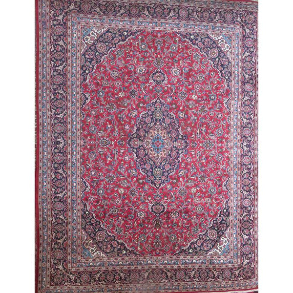 "Persian mashad Authentic Hand-Knotted Traditonal Vintage Persian Rugs Natural Wool and Cotton Multicolor Area Rug  11'2""  X  9'10""  ABCR06605"