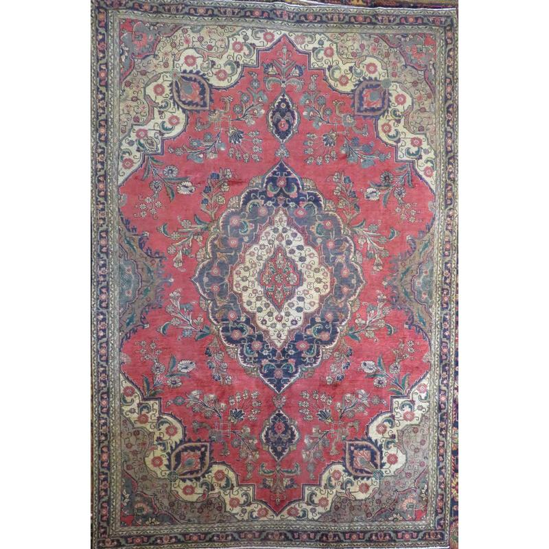 "Persian tabriz Authentic Hand-Knotted Traditonal Vintage Persian Rugs Natural Wool and Cotton Multicolor Area Rug  8'7""  X  2'7"" ABCR06614"