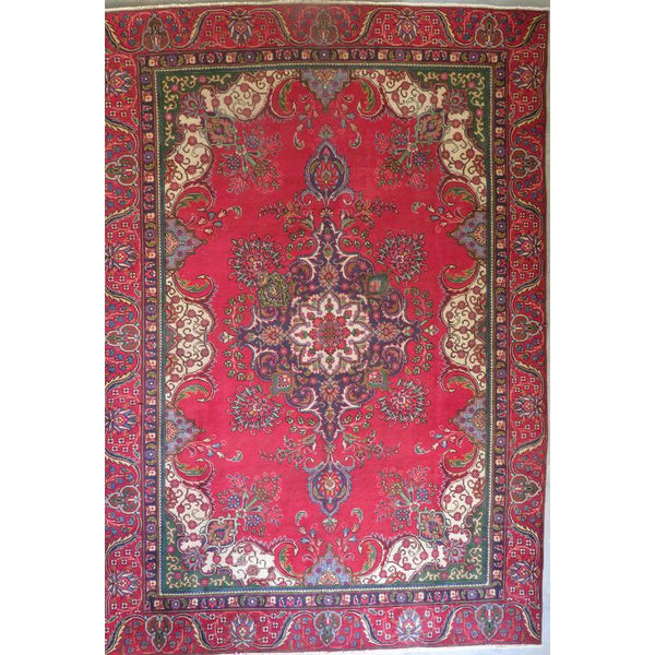 "Persian tabriz Authentic Hand-Knotted Traditonal Vintage Persian Rugs Natural Wool and Cotton Multicolor Area Rug  8'6""  X  6'3""  ABCR06650"