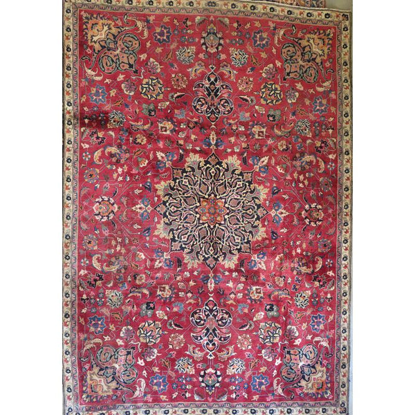 "Persian mashad Authentic Hand-Knotted Traditonal Vintage Persian Rugs Natural Wool and Cotton Multicolor Area Rug  7'11""  X  4'8""  ABCR06658"