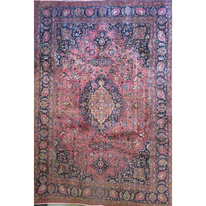 "Persian mashad Authentic Hand-Knotted Traditonal Vintage Persian Rugs Natural Wool and Cotton Multicolor Area Rug   9'11""  X  7'4""  ABCR06667"