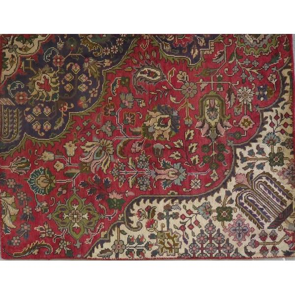 "Persian tabriz Authentic Hand-Knotted Traditonal Vintage Persian Rugs Natural Wool and Cotton Multicolor Area Rug  7'1""  X  4'6"" ABCR06707"