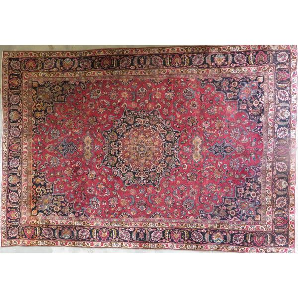 "Persian mashad Authentic Hand-Knotted Traditonal Vintage Persian Rugs Natural Wool and Cotton Multicolor Area Rug  12'8""  X  9'8""  ABCR06709"