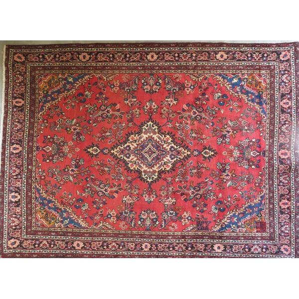 "Persian hamedan Authentic Hand-Knotted Traditonal Vintage Persian Rugs Natural Wool and Cotton Multicolor Area Rug  10'6""  X  7'5"" ABCR06710"