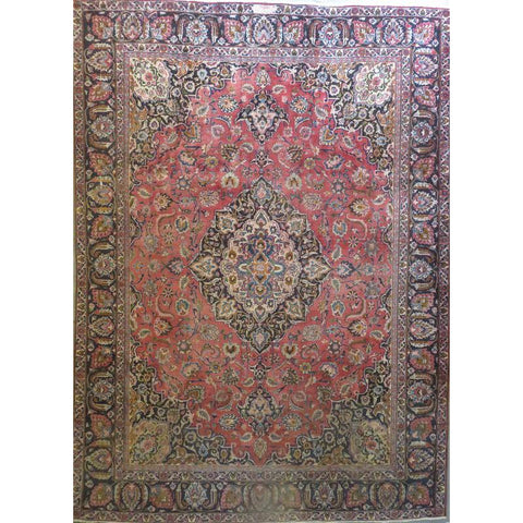 "Persian mashad Authentic Hand-Knotted Traditonal Vintage Persian Rugs Natural Wool and Cotton Multicolor Area Rug  12'6""  X  8'6""  ABCR06721"
