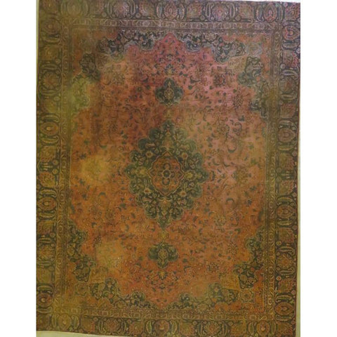 "Persian mashad Authentic Hand-Knotted Traditonal Vintage Persian Rugs Natural Wool and Cotton Multicolor Area Rug  7'10""  X  4'12""  ABCR06722"
