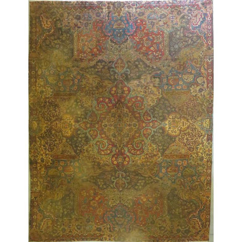 "Persian mashad Authentic Hand-Knotted Traditonal Vintage Persian Rugs Natural Wool and Cotton Multicolor Area Rug  9'0""  X  5'9""  ABCR06723"