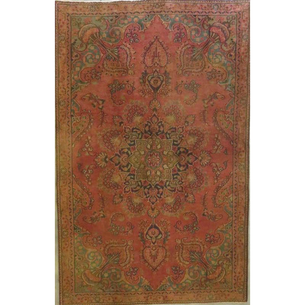 "Persian mashad Authentic Hand-Knotted Traditonal Vintage Persian Rugs Natural Wool and Cotton Multicolor Area Rug  10'6""  X  8'5"" ABCR06730"