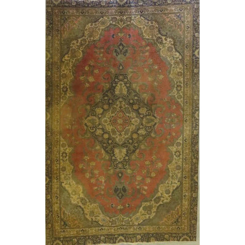 "Persian tabriz Authentic Hand-Knotted Traditonal Vintage Persian Rugs Natural Wool and Cotton Multicolor Area Rug  12'4""  X  9'2"" ABCR06733"