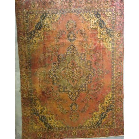 "Persian tabriz Authentic Hand-Knotted Traditonal Vintage Persian Rugs Natural Wool and Cotton Multicolor Area Rug  9'10""  X  6'6"" ABCR06735"