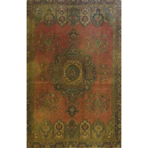 "Persian tabriz Authentic Hand-Knotted Traditonal Vintage Persian Rugs Natural Wool and Cotton Multicolor Area Rug  7'1""  X  3'11"" ABCR06737"
