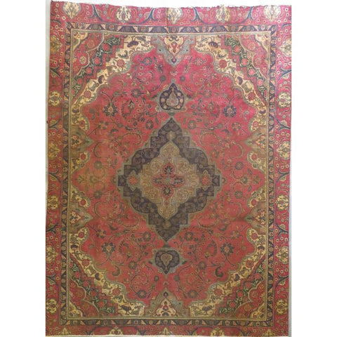 "Persian tabriz Authentic Hand-Knotted Traditonal Vintage Persian Rugs Natural Wool and Cotton Multicolor Area Rug  10'4""  X  7'7""  ABCR06739"