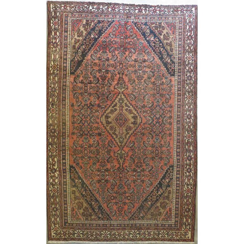 "Persian hamedan Authentic Hand-Knotted Traditonal Vintage Persian Rugs Natural Wool and Cotton Multicolor Area Rug  9'6""  X  6'7"" ABCR06742"